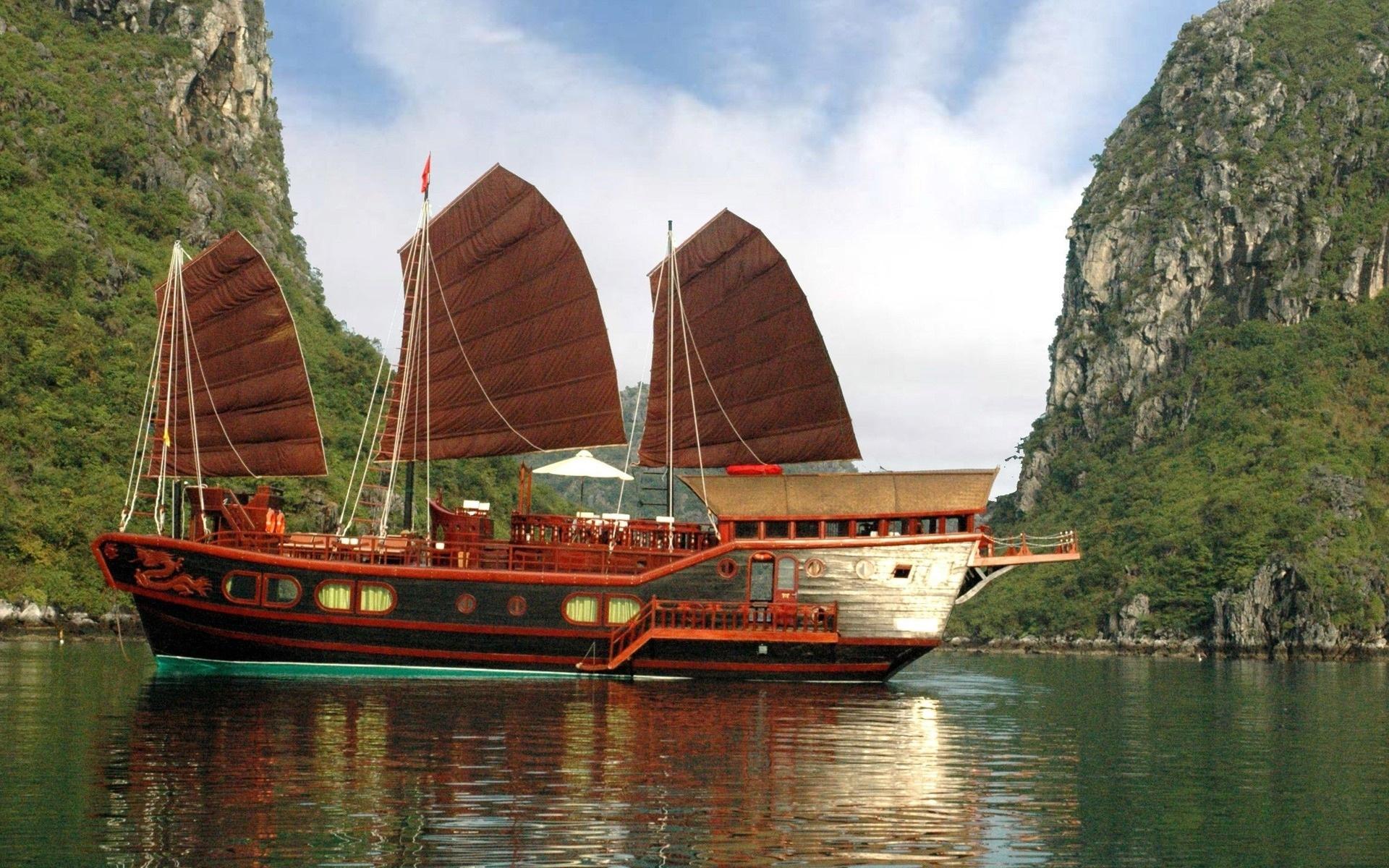 ha long bay, vietnam, water, mountain, asia, boats