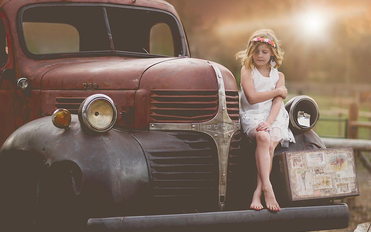 dodge, девочка, ретро, чемодан, авто, child model, child photography