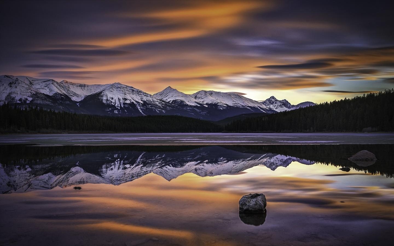 горы, озеро, отражение, природа, лес, пейзаж