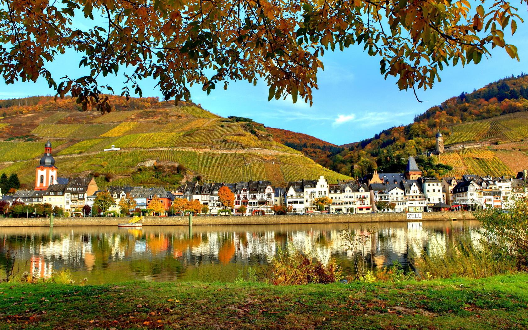 германия, целль, мозель, город, германия, река, дома