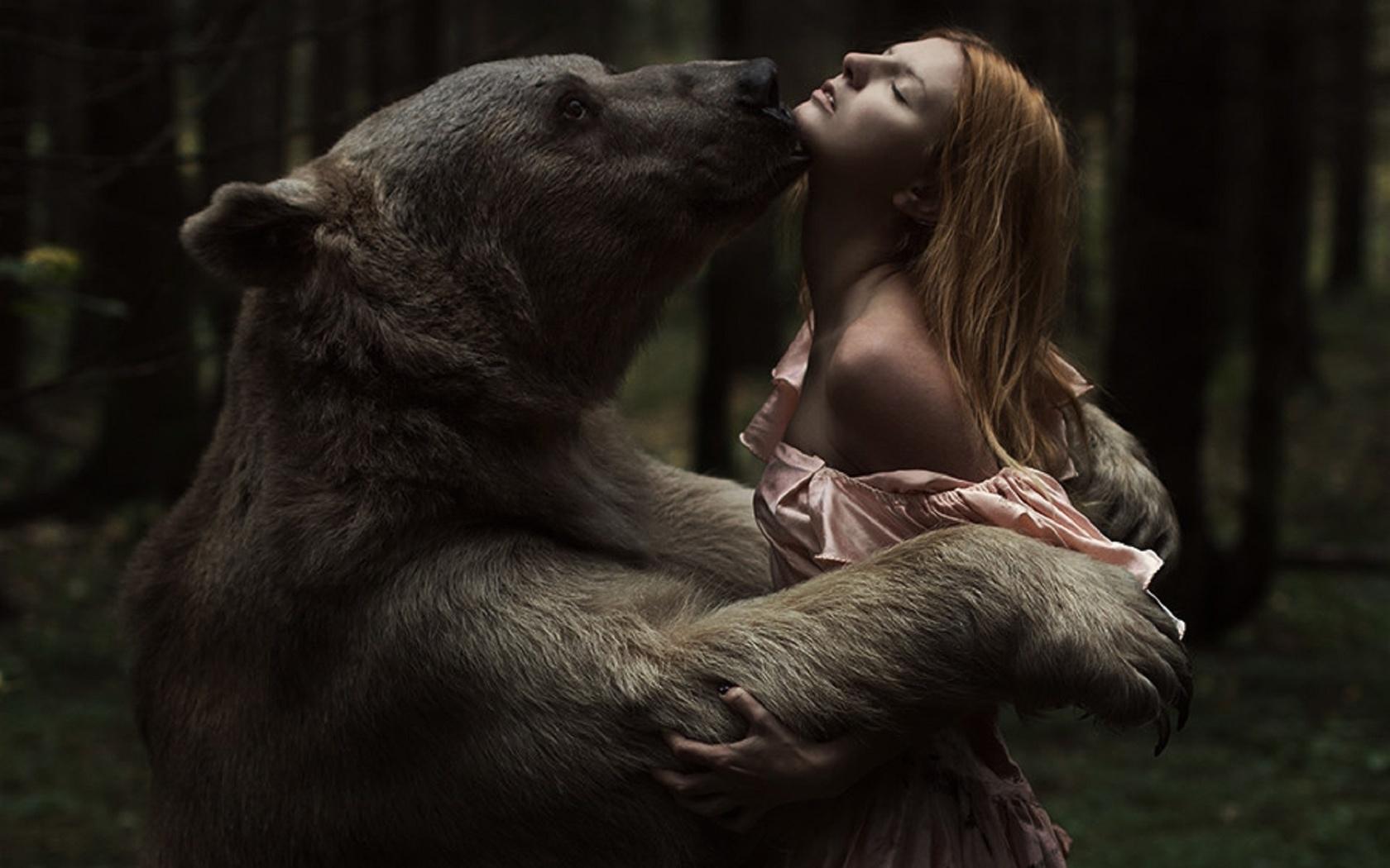 Картинка девушка с медведем, сделать объемная открытка
