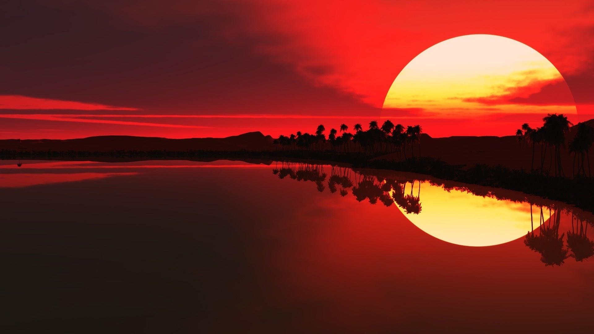 закат, океан, небо, солнце, берег