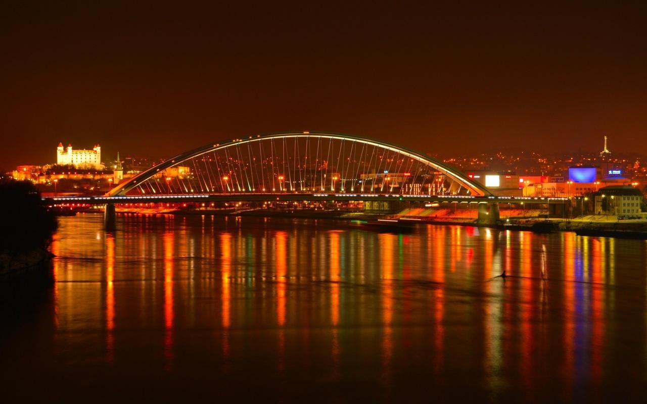 bratislava, river, bridge, night
