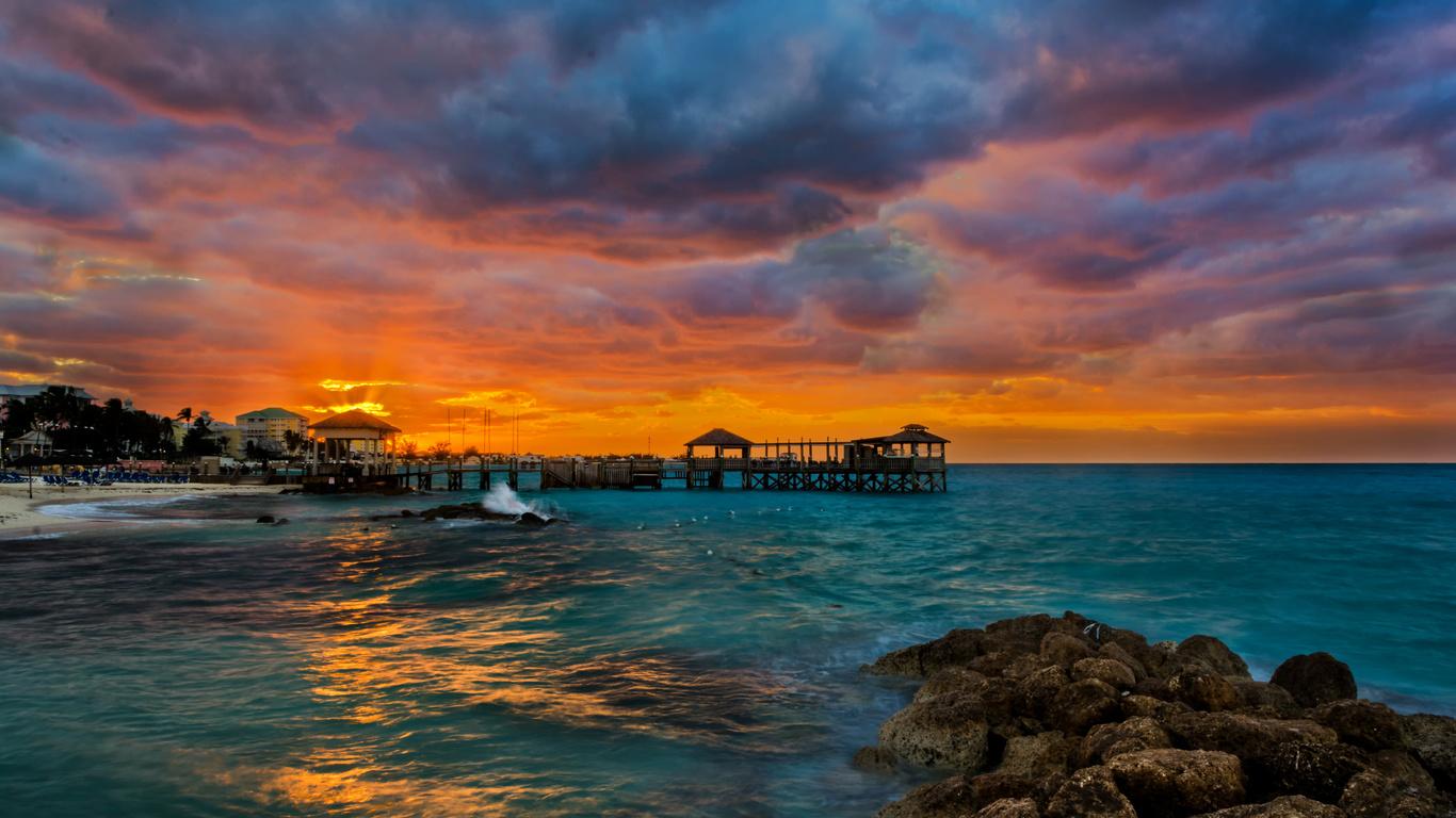 тропики, пляж, море, камни, причал, рассвет, nassau, bahamas