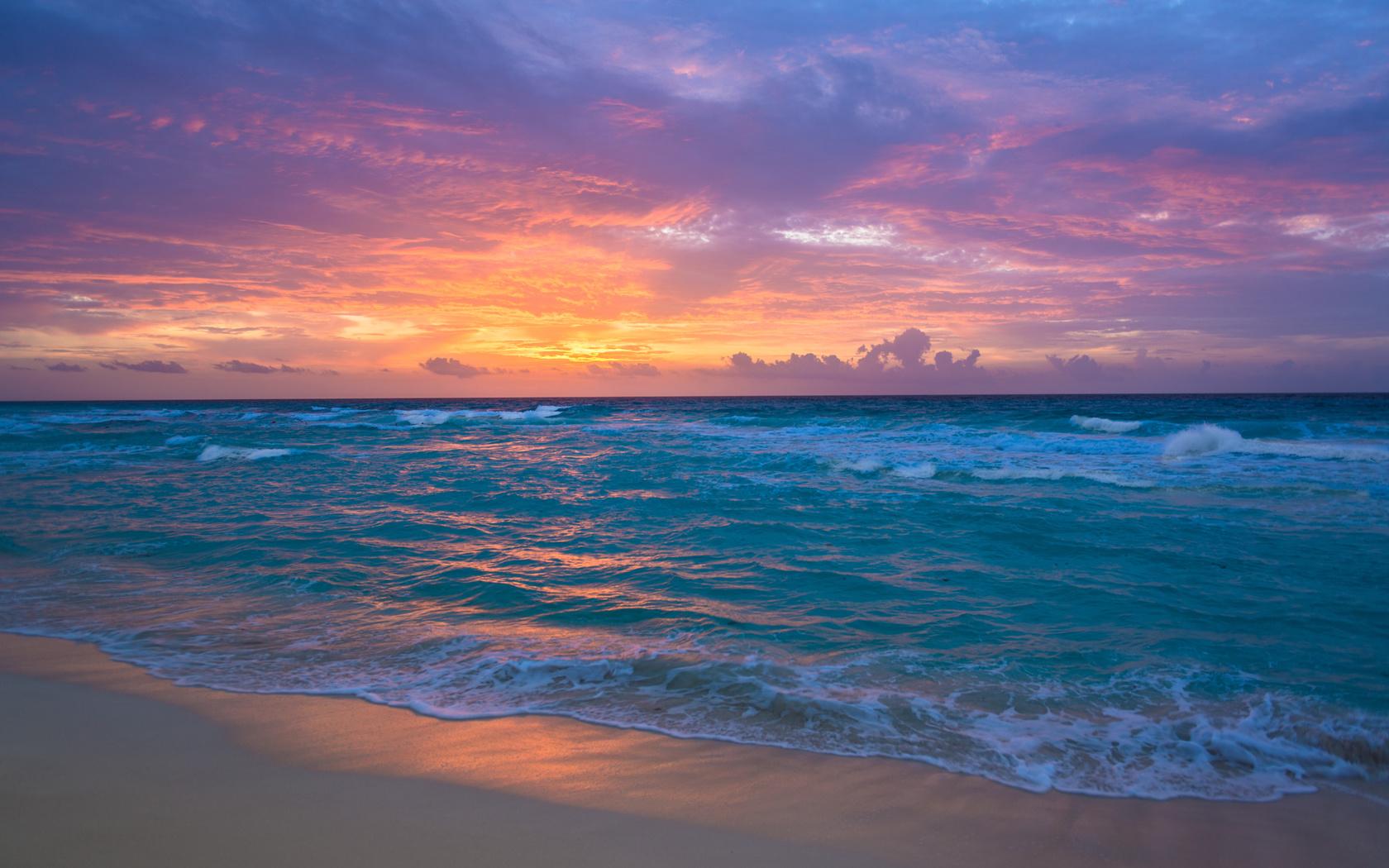sunrise, cancun, mexico, caribbean sea
