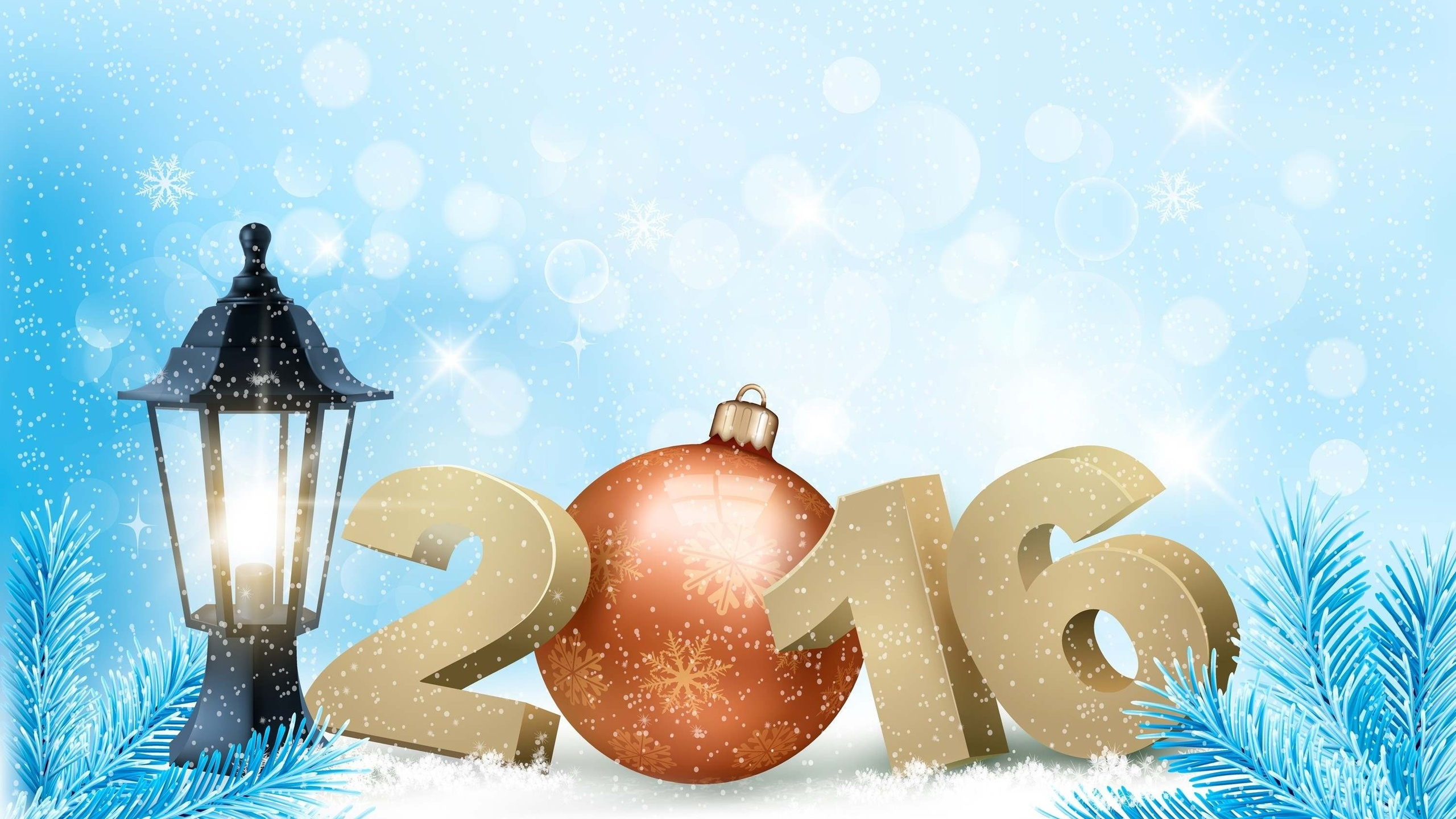 Открытка для новый год 2016, днем