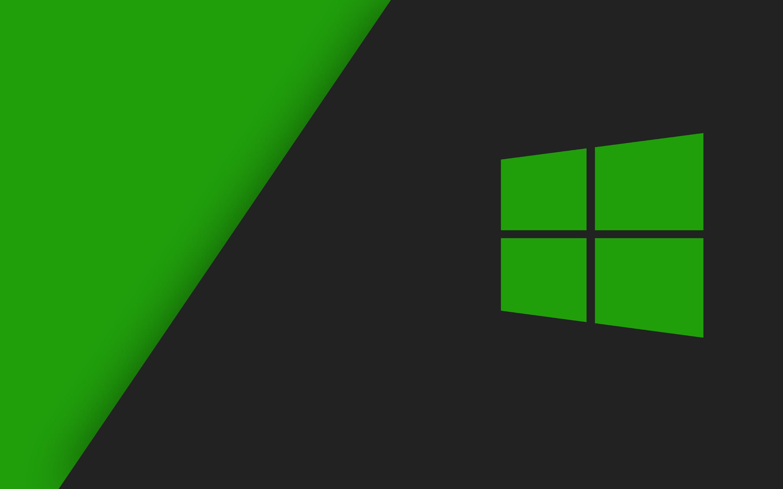 windows, 10, wallpaper, green, grey