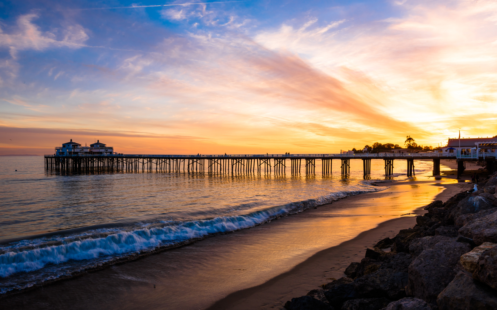 malibu, sea, sunset, shore, pearce, landscape