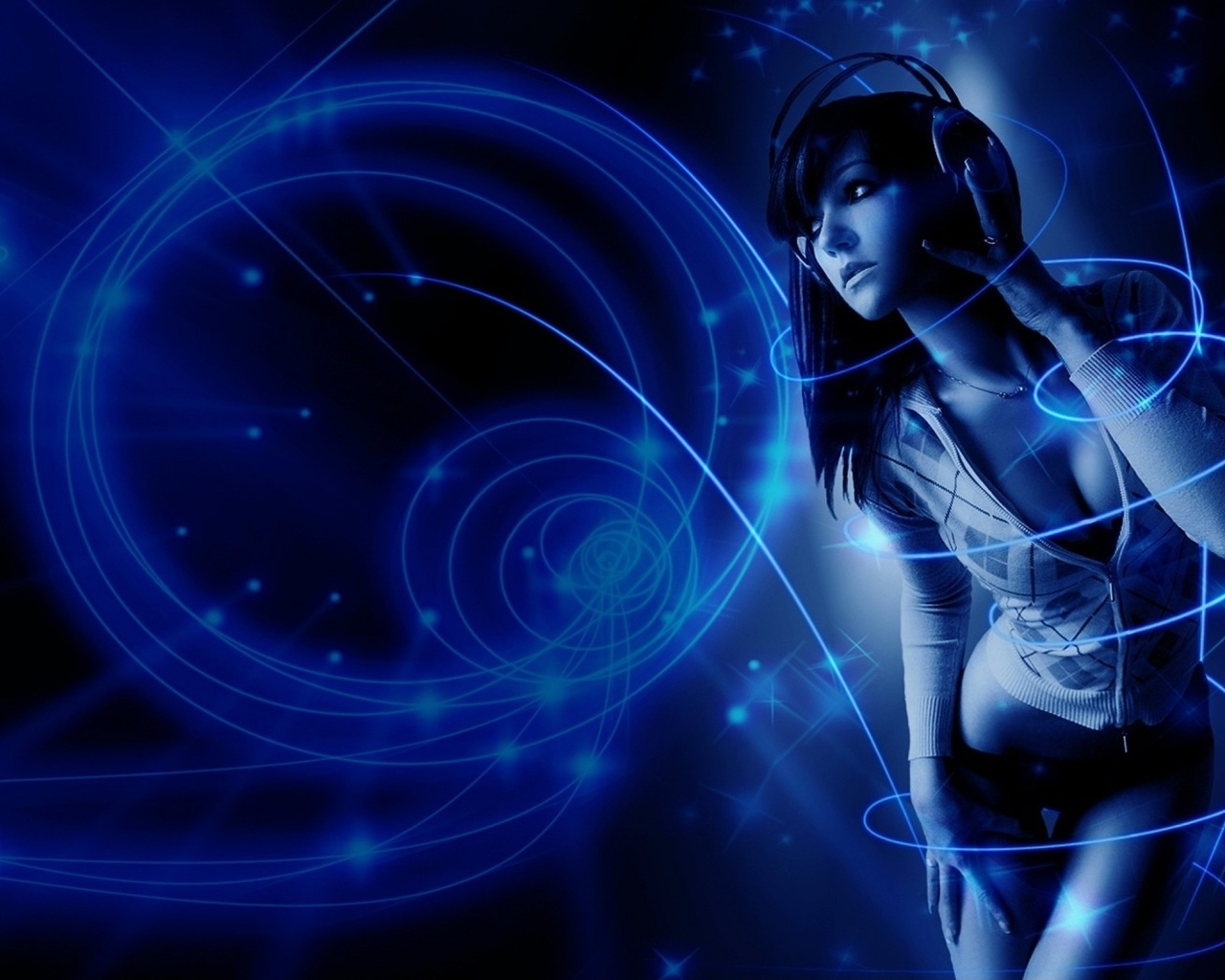 девушка, брюнетка, музыка, синий фон