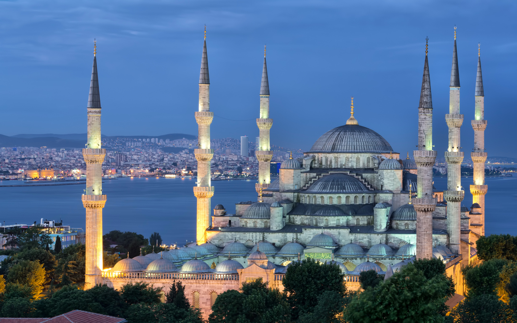 турция, мечеть султанахмет, город, вечер, istanbul, стамбул, turkey, красиво, mosque