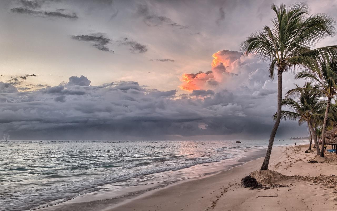 природа, красиво, море, океан, пляж, пальмы, небо, тучи, закат, гроза, песок, hdr