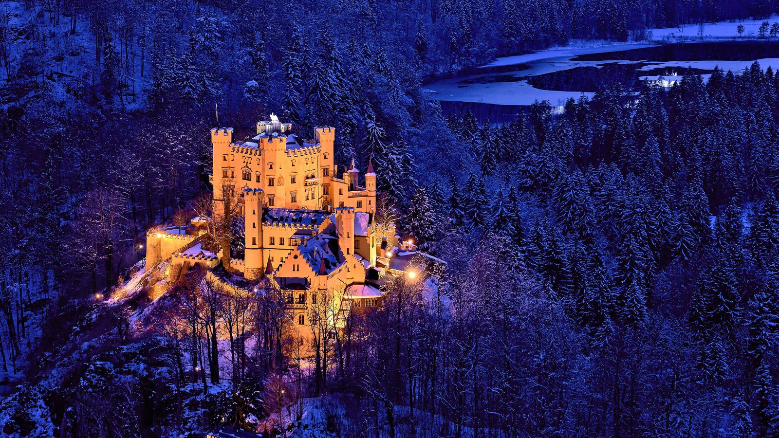 hohenschwangau castle, bavaria, germany, замок хоэншвангау, бавария, германия, замок, лес, деревья, зима