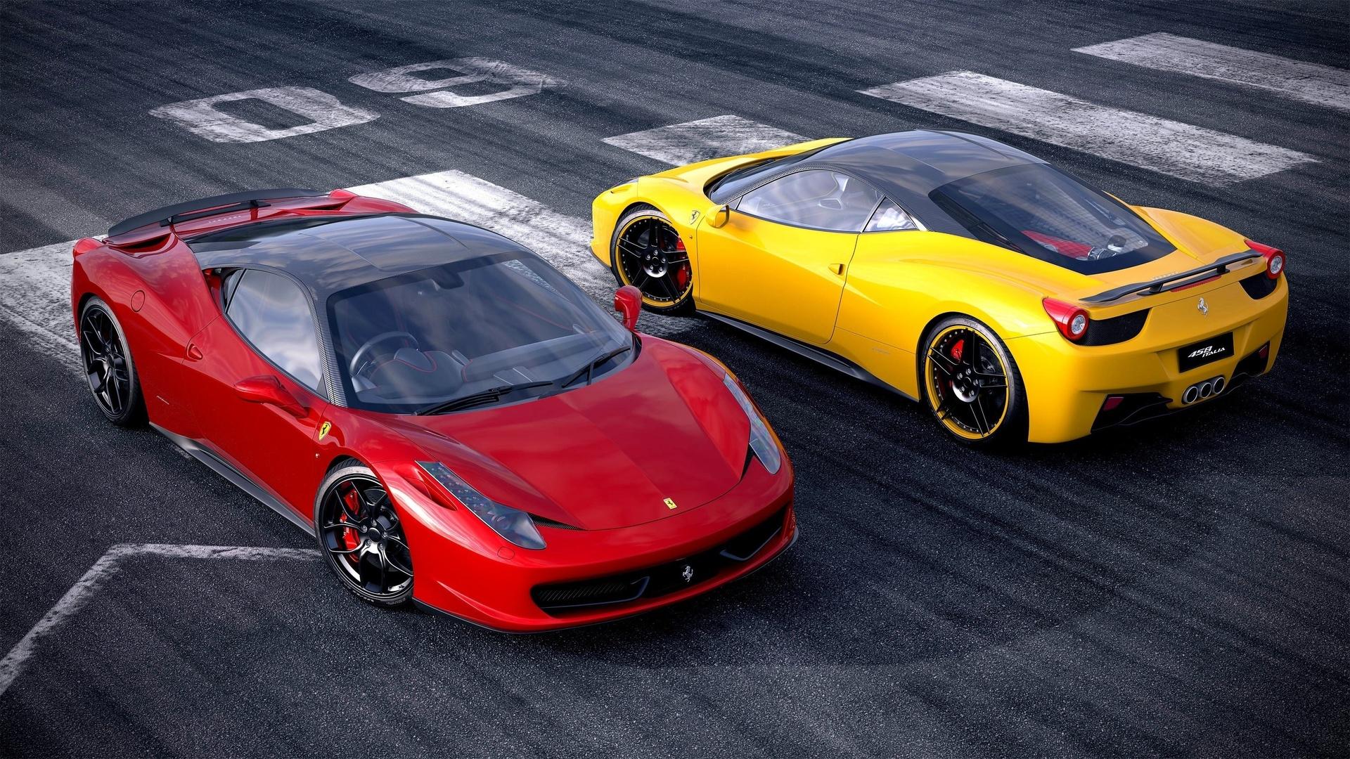 авто, ferrari, 458, суперкары, желтый, задок, красный, передок, дорога, асфальт, вид, красиво