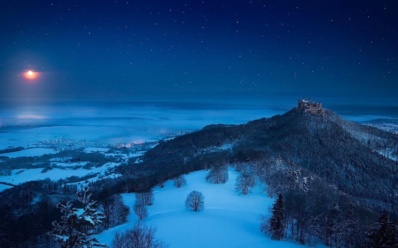 гогенцоллерн замок, германия, баден-вюртемберг, гогенцоллернов, замок, холм, снег, зима, лес, ночь