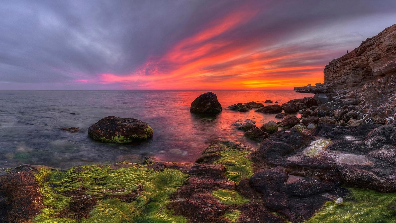 море, скалы, небо, закат, by корочкин андрей