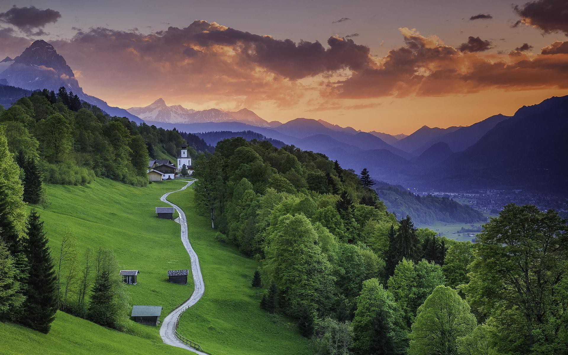 гармиш-партенкирхен, bavaria, германия, горы, лес, долина, церковь, закат, путь, трава, дерево