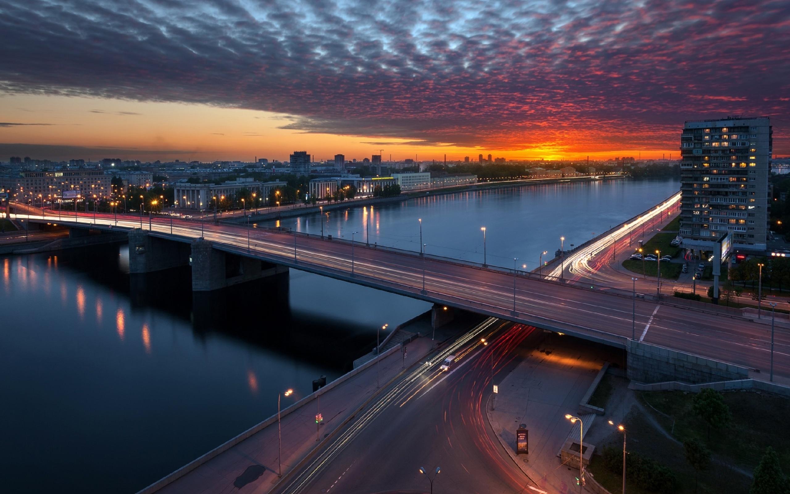 володарский, закат, мост, нева, облака, санкт-петербург, by krubek