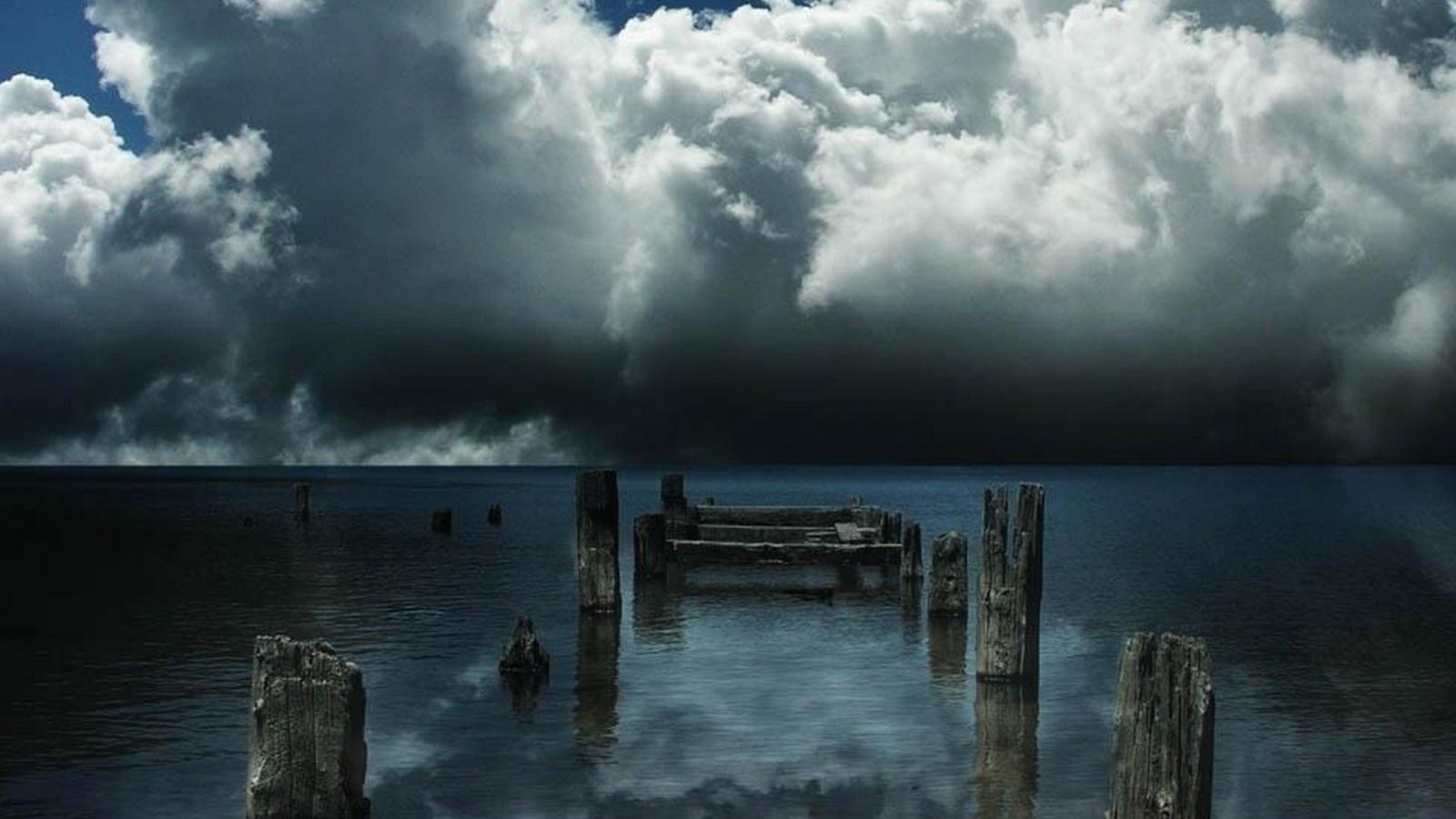 море, облака, сваи, затишье, старый причал, карлос альберто бау