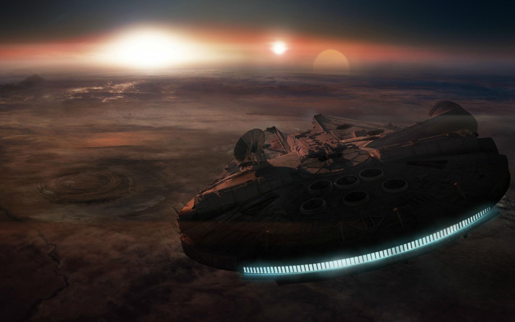 планета, поверхность, корабль, космос, звездные войны, star wars, сокол тысячелетия