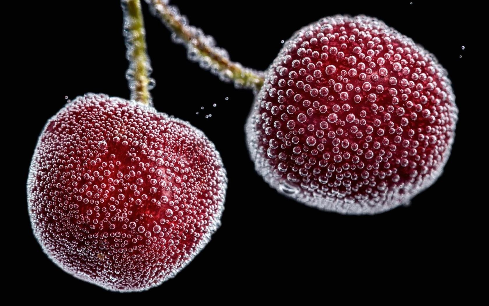 фото, вишни, пузырьки, воздух, красиво