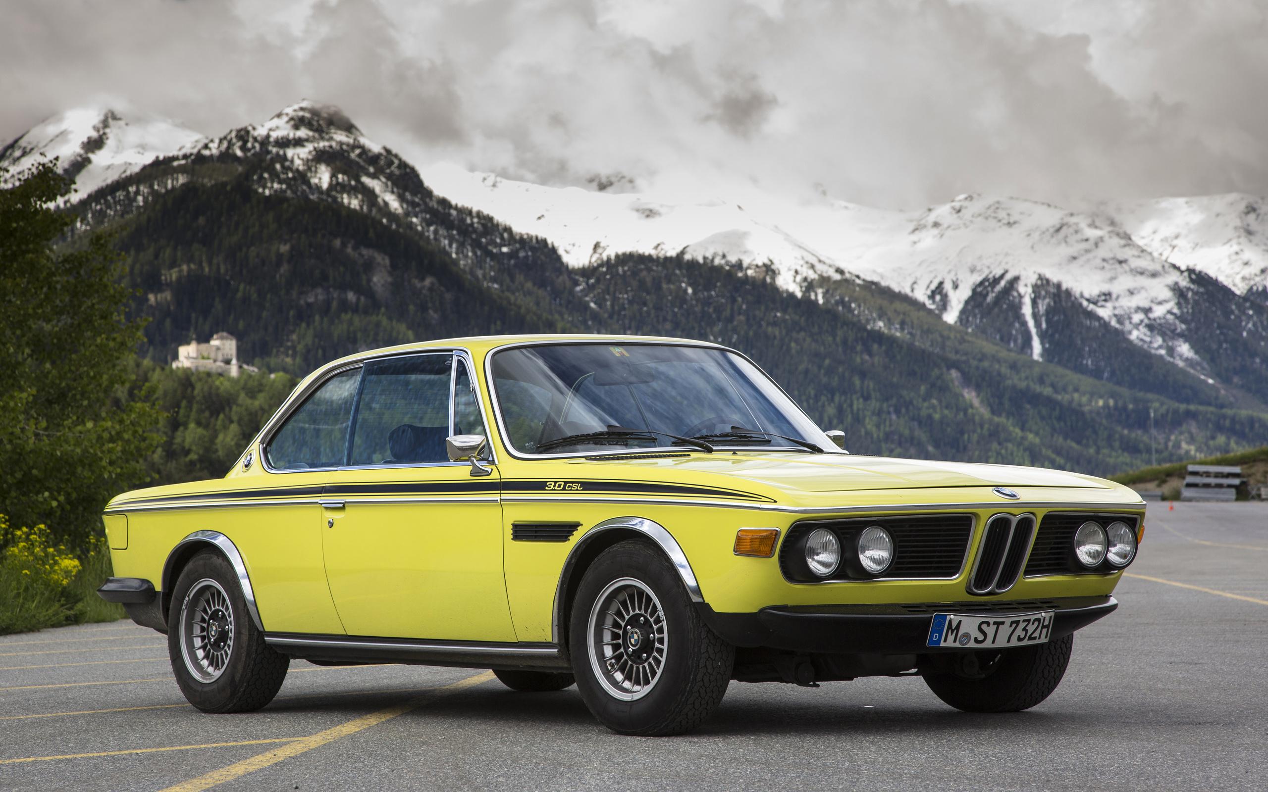 bmw, ретро, горы, желтый, 1971-73, 3.0, csl, worldwide, бмв, e9