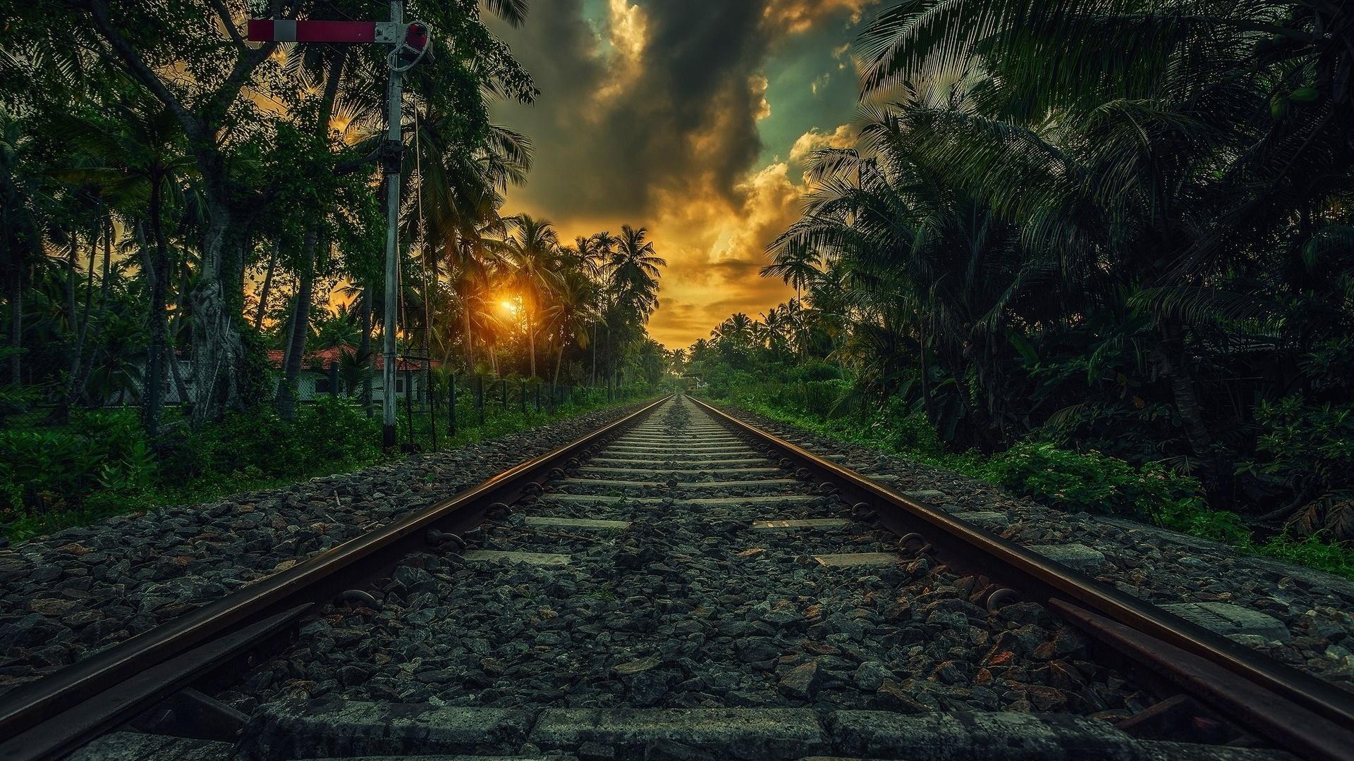 жд, путь, жб, верхнее строение пути, рельсы, контррельс, переезд, курорт, пальмы, закат, красиво