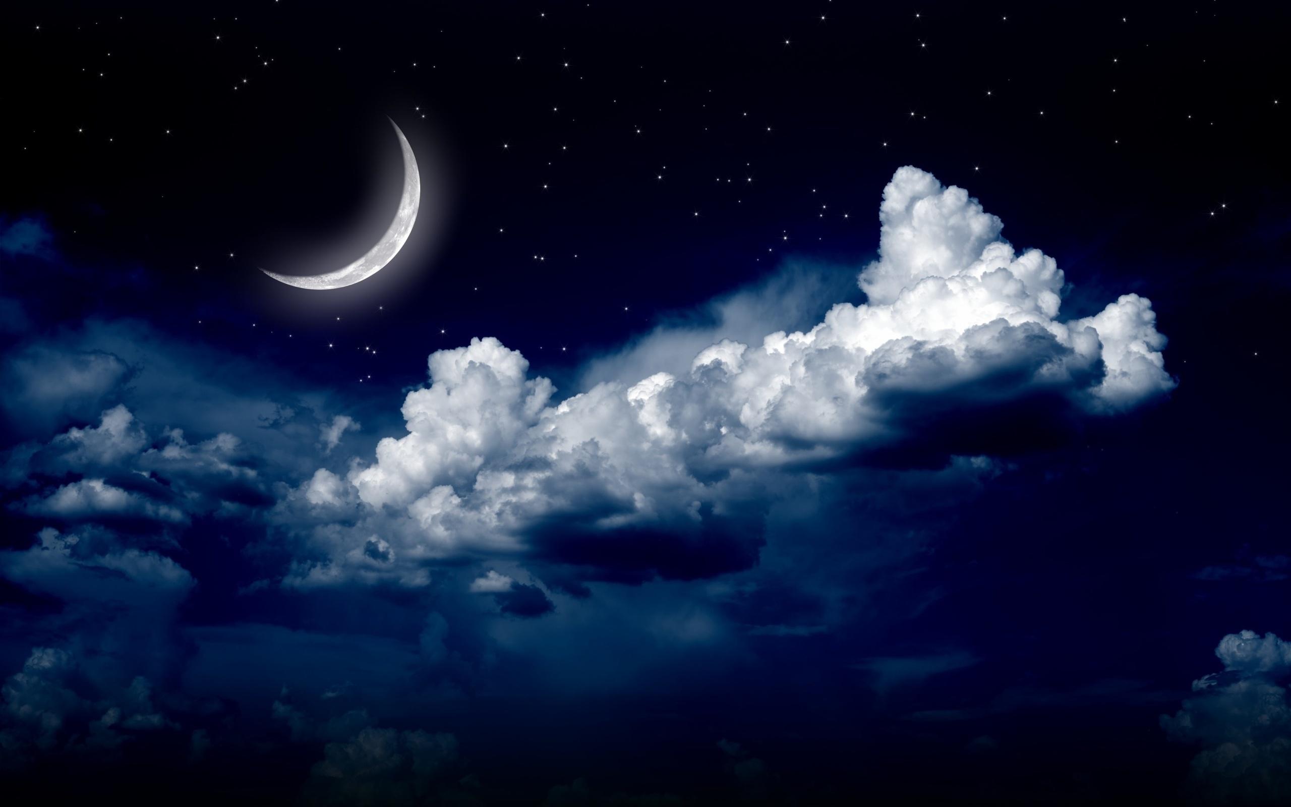 Открытка со звездами и луной