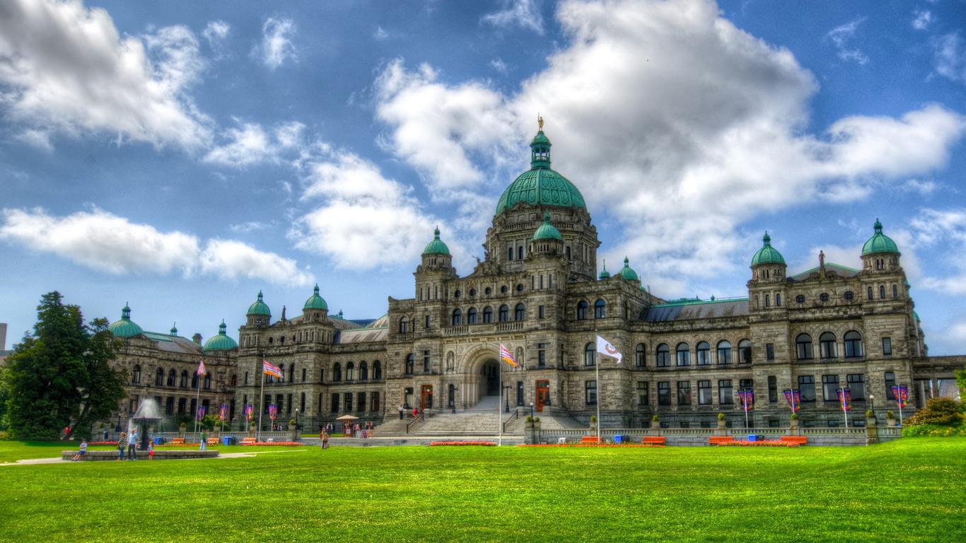 канада, небо, трава, облака, газон, hdr, parliament, british, columbia, victoria, город