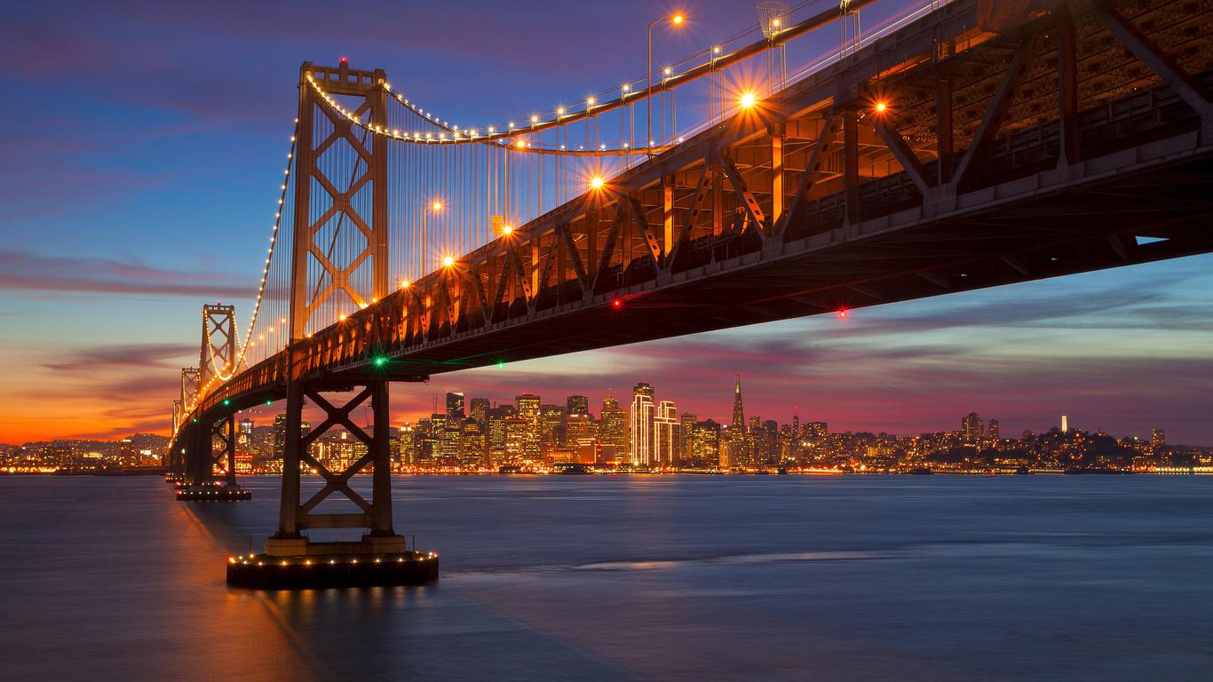 город, сан-франциско, сша, мост, вечер, красиво
