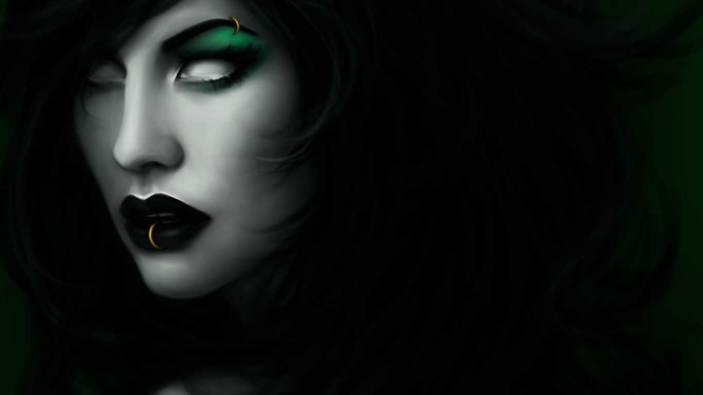 готика, фэнтези, губы, лицо, Черный, фэнтези
