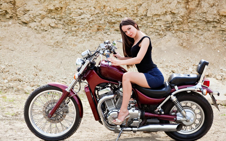 мотоцикл, девица, байк, девушка, мото, позирует