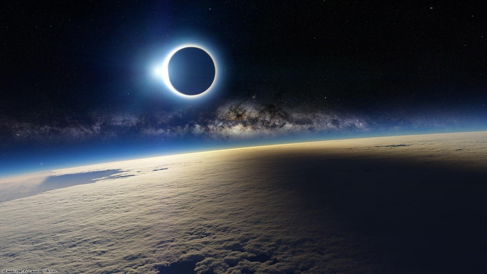 космос, планета, земля, затмение