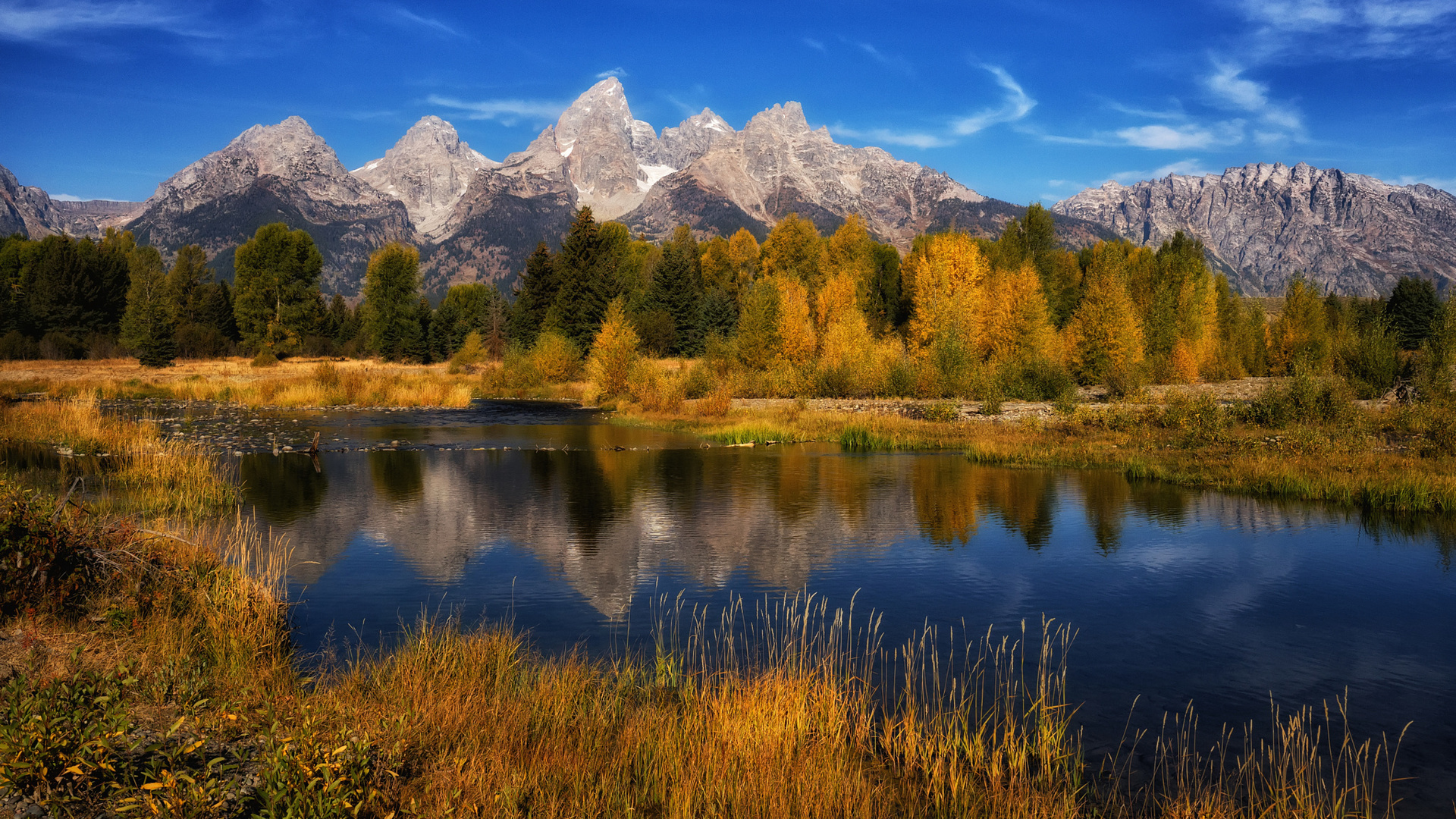природа, осень, сша, национальный парк, гранд-титон, grand teton national park, горы, озеро, отражение