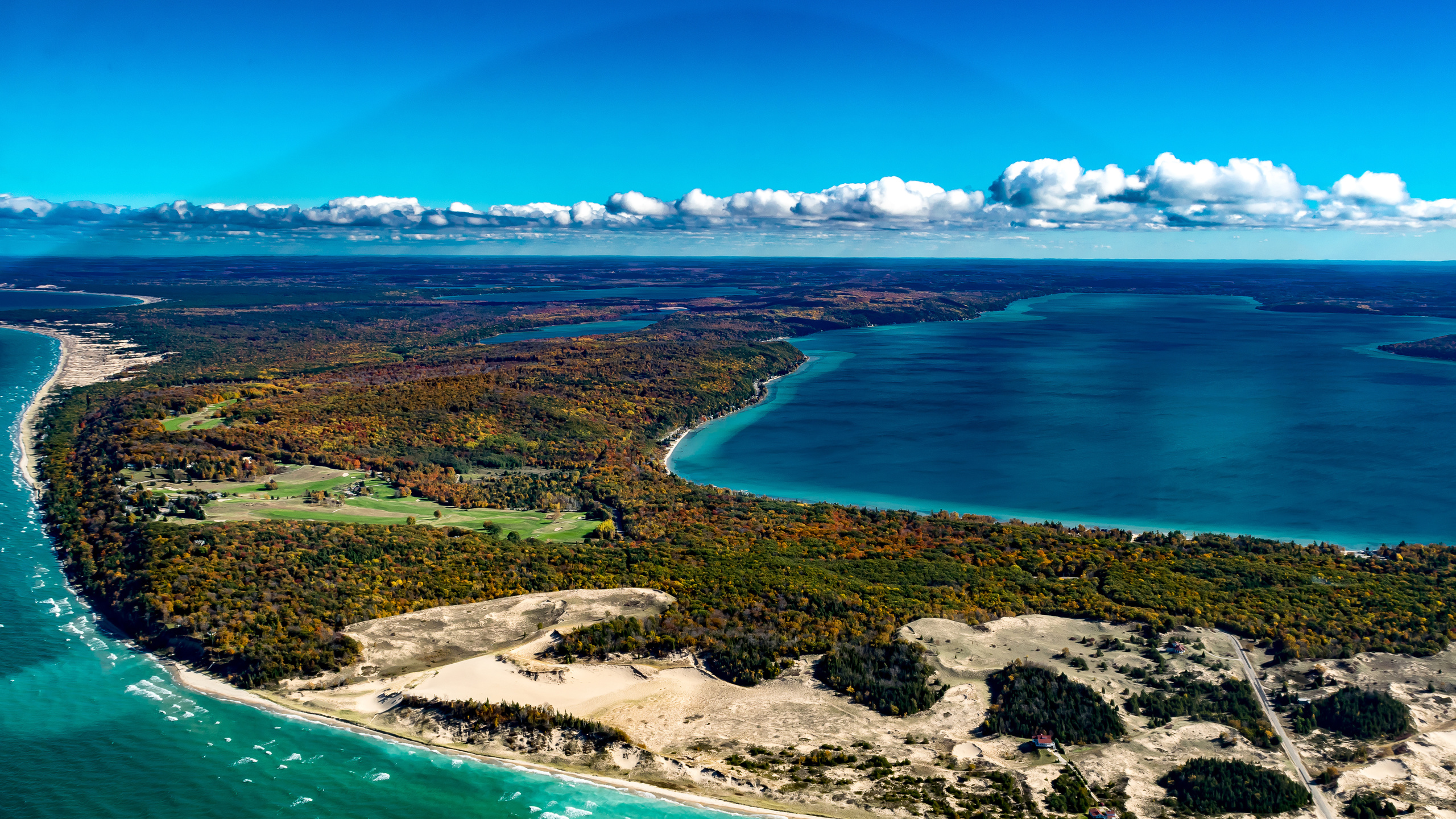 пейзаж, озеро, побережье, crystal lake, michigan, природа