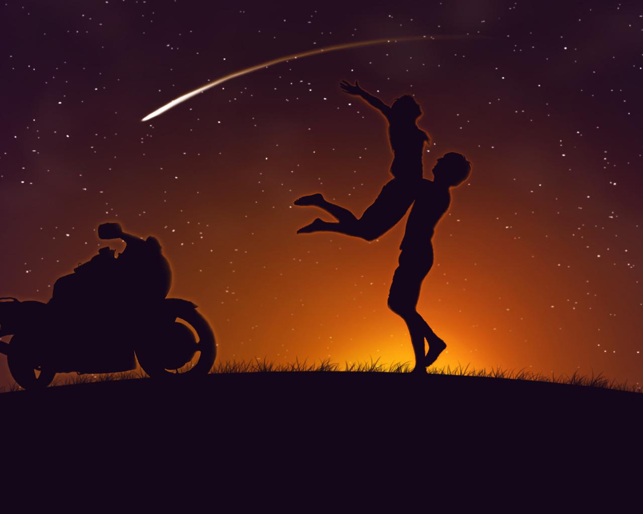 пара, закат, мотоцикл, любовь