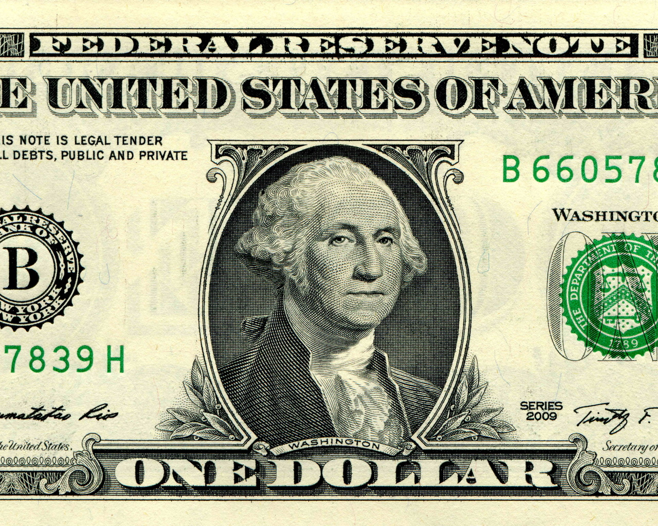 деньги, купюра, доллар, 1, washington, federal reserve note