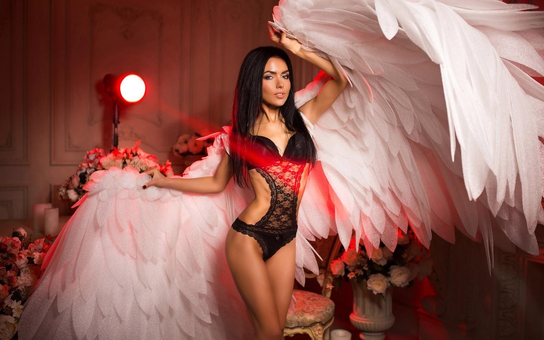women, tanned, one-piece, black lingerie, portrait, angel, black hair, chair, painted nails, flowers, wings