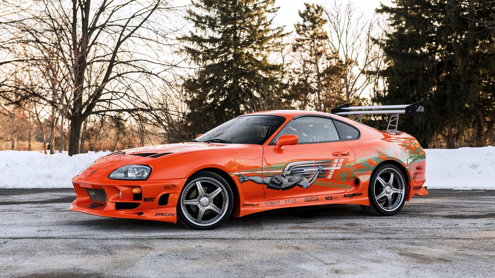 тюнинг, toyota, 2001, supra, the fast and the furious, оранжевый, сбоку