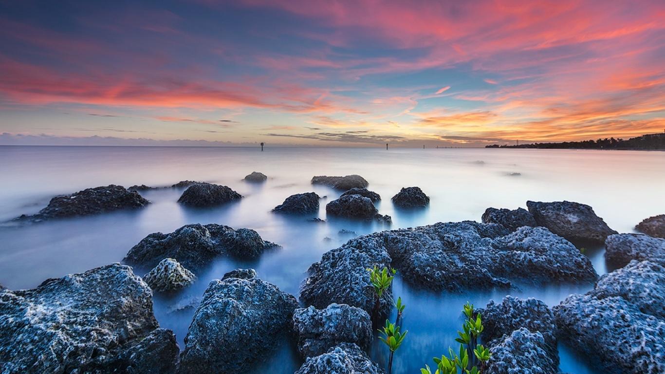 небо, море, камни, дымка тумана, горизонт, alexandr popovski