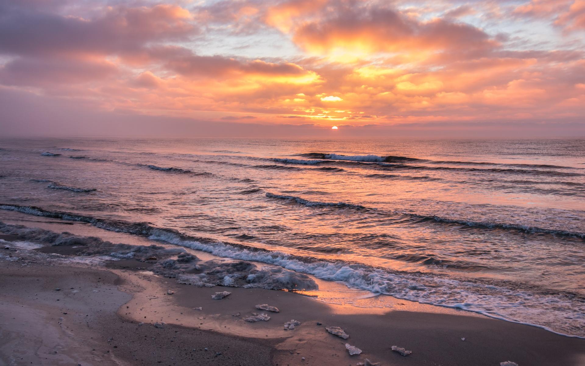 море, океан, рассвет, прибой, волны, песок, берег, пляж, облака, солнце, закат