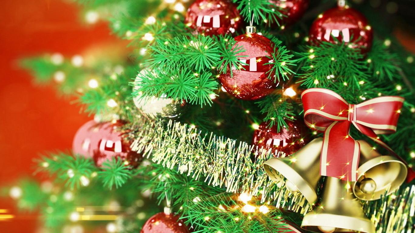 елка, шарики, колокольчики, рождество, новый год