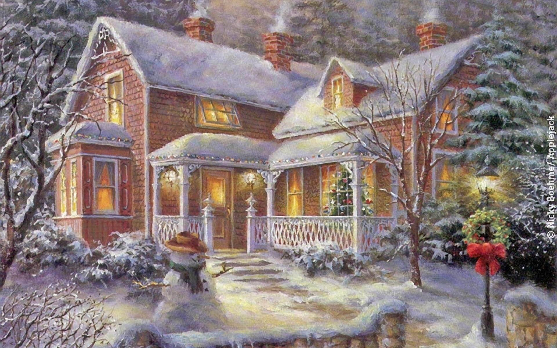 Сделать, открытка с новогодним домиком