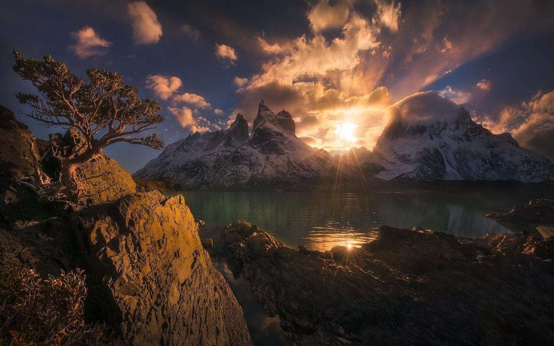 пейзаж и природа обои » природа, пейзаж, горы, закат, Чили, торрес-дель-пай