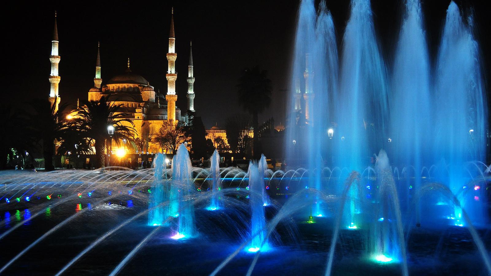 фото, турция, стамбул, мечеть, мечеть султанахмет, фонтан, вода, вечер, город