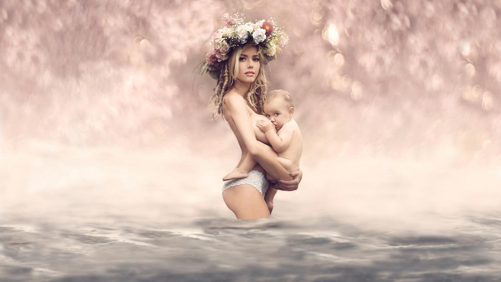 люди, фото, позитив, женщина, мать, мама, ребёнок, младенец, кормление, венок