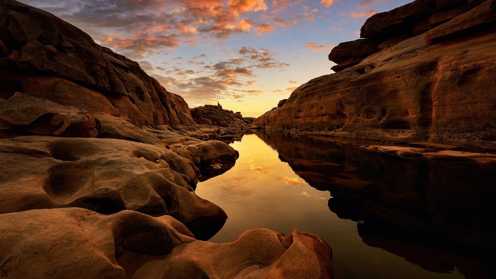 thailand, asia, travel, landscape, thai, river, rock, sunrise, cloud, saravut whanset