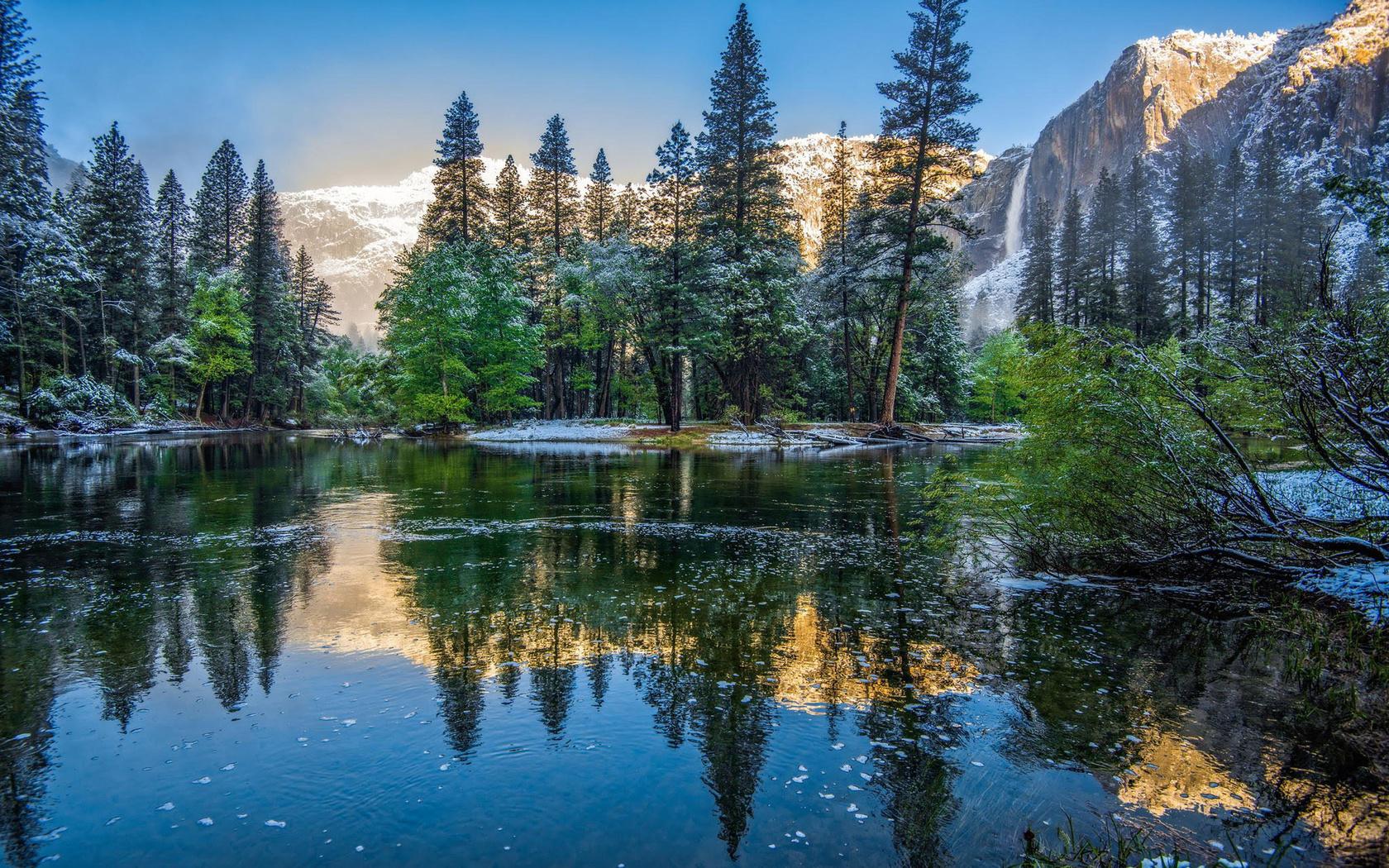 зимний пейзаж, горная река вуд, национальный парк йосемити, калифорния
