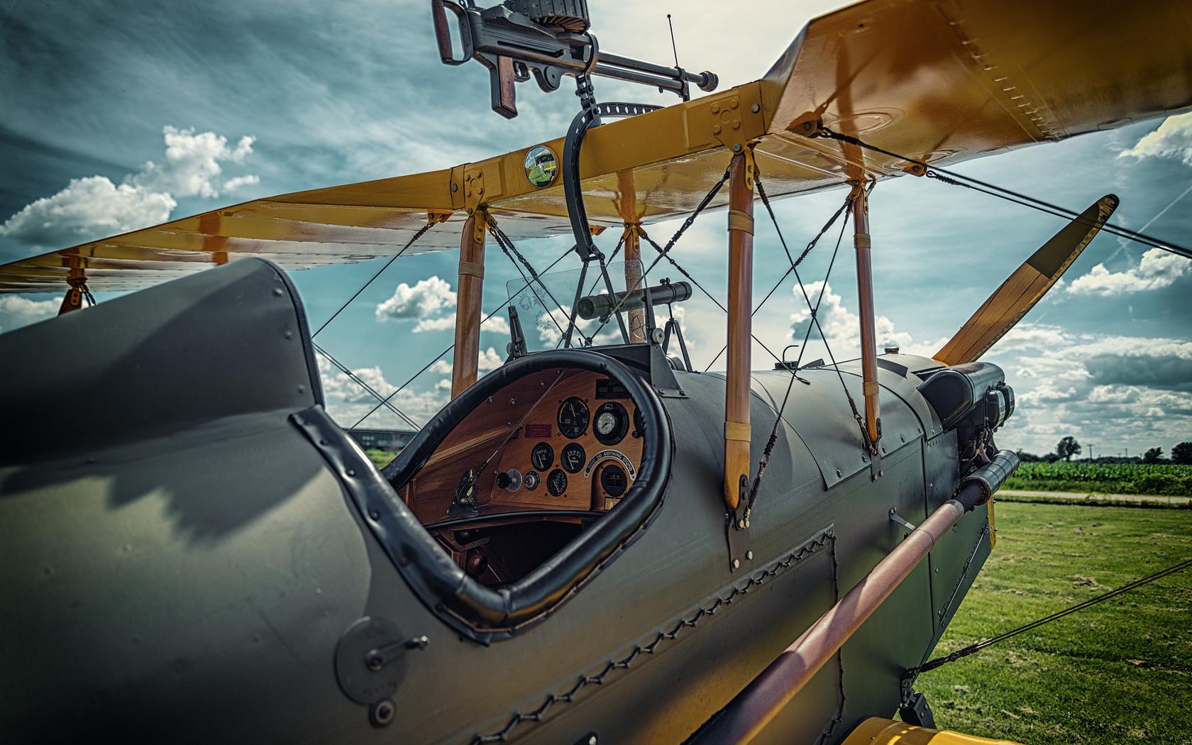самолет, первой, мировой, войны, истребитель, кабина