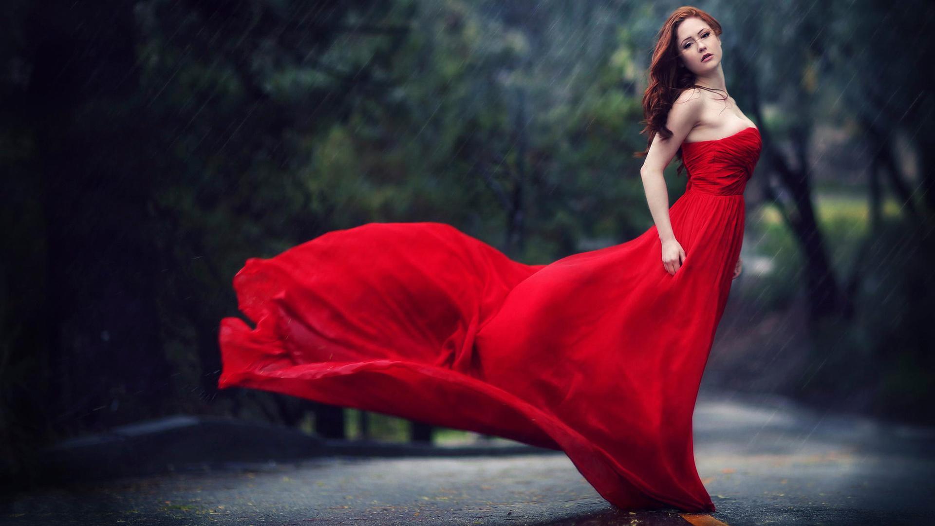 дождь, девушка в красном, капли