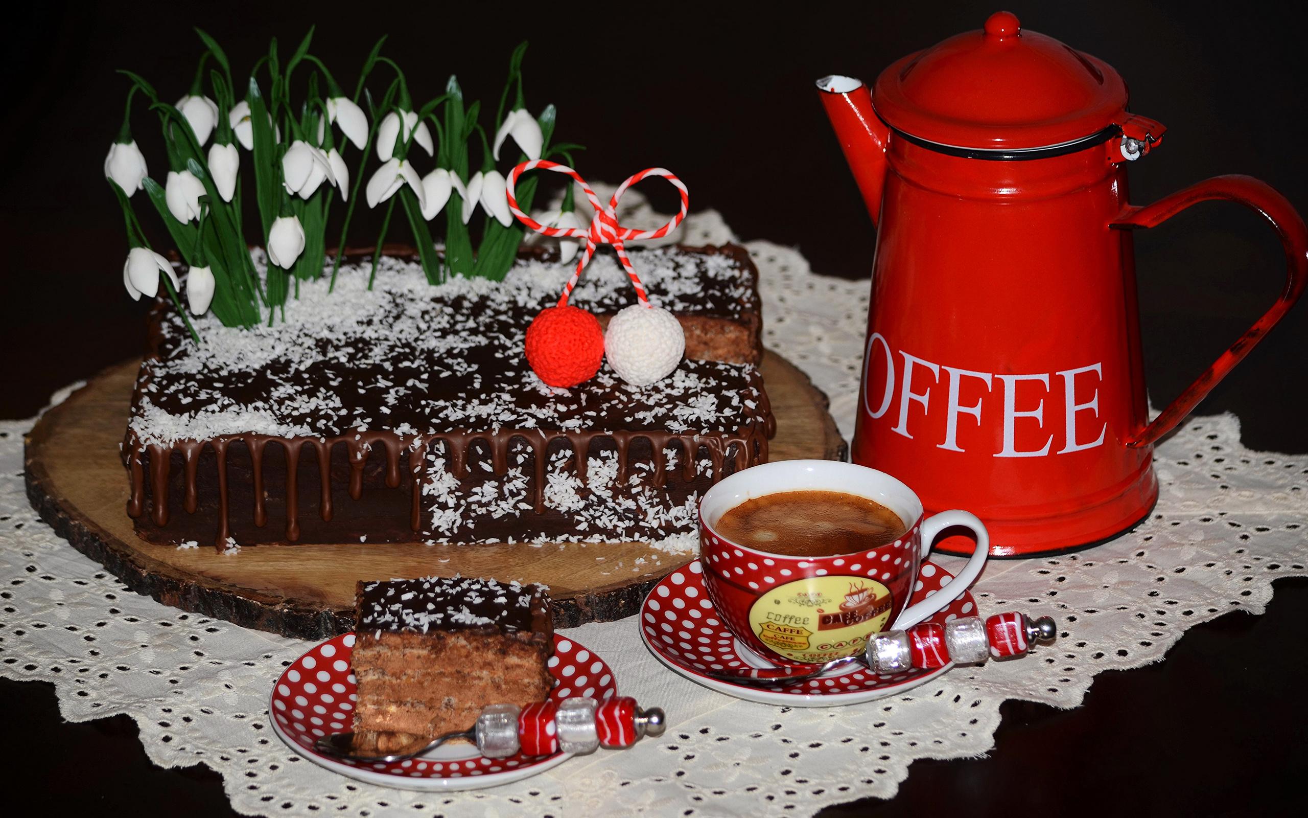 Днем рождения, открытки с кофе и тортом